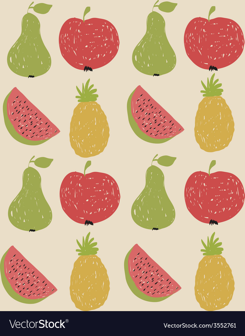 Doodle fruit pattern in retro colors vector | Price: 1 Credit (USD $1)
