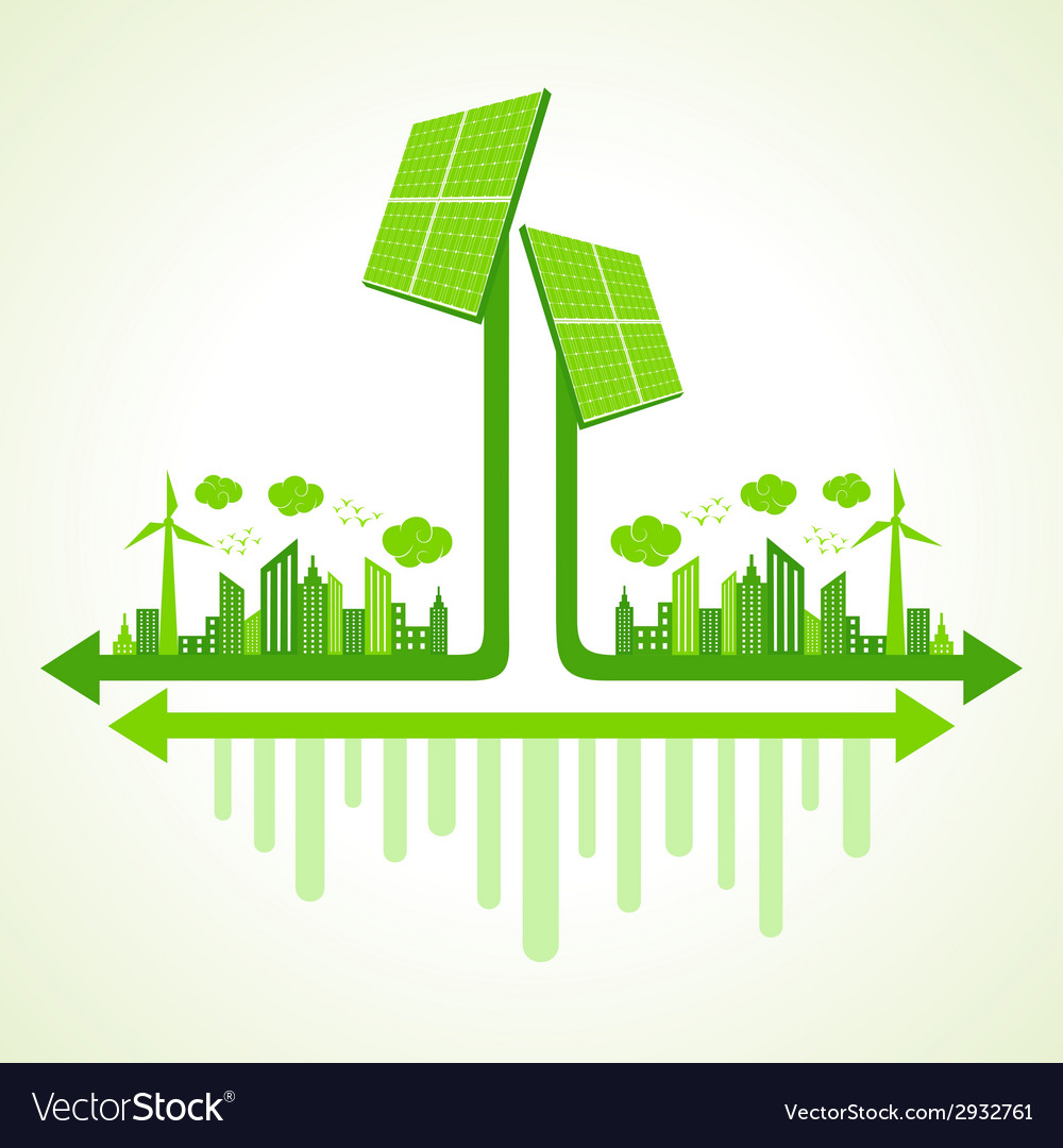 Ecology concept solar panel - vector | Price: 1 Credit (USD $1)