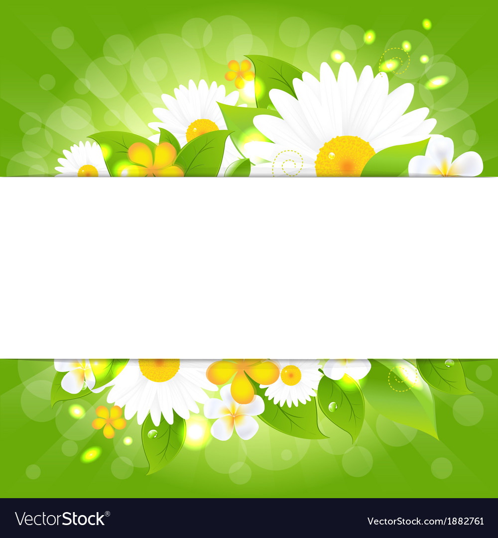 Flowers with leaves bokeh and sunburst vector | Price: 1 Credit (USD $1)