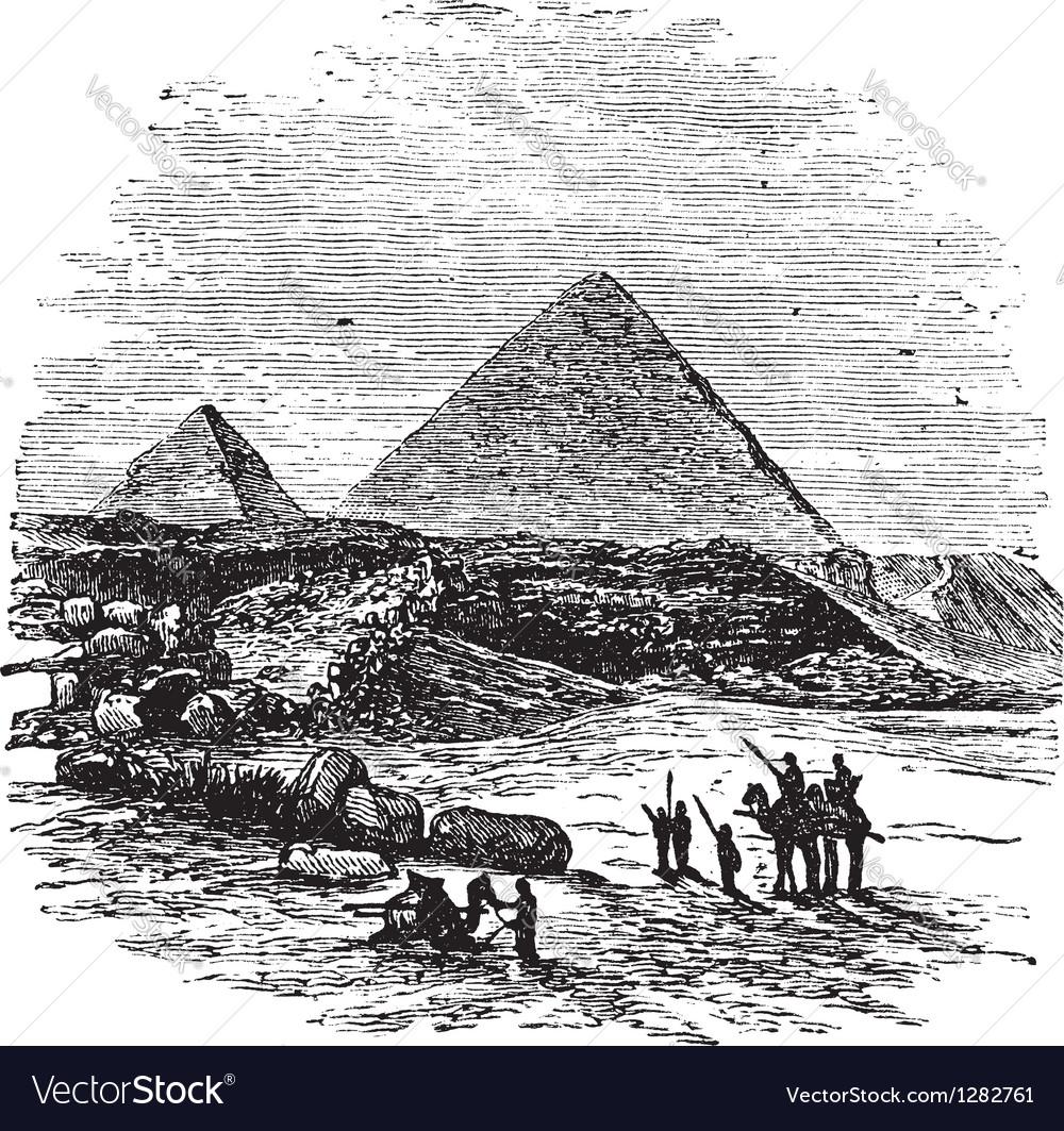 Giza pyramids vintage engraving vector | Price: 1 Credit (USD $1)