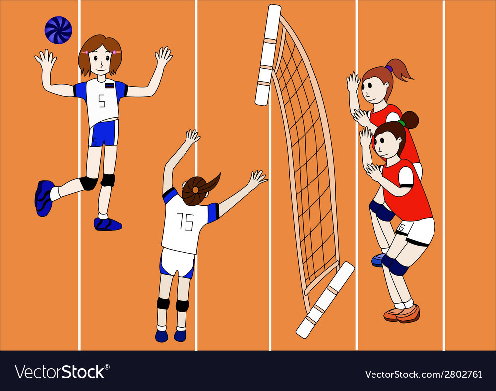 The of volleyball team vector | Price: 1 Credit (USD $1)