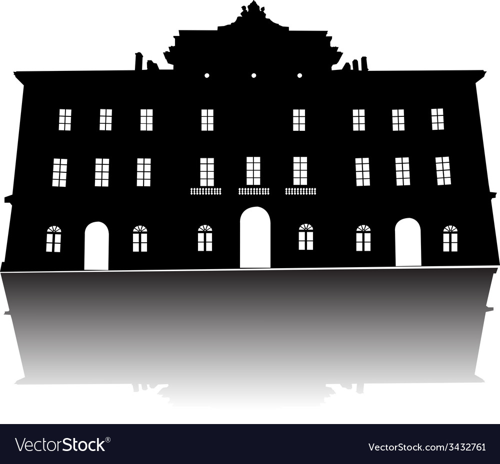 Old building silhouette vector | Price: 1 Credit (USD $1)