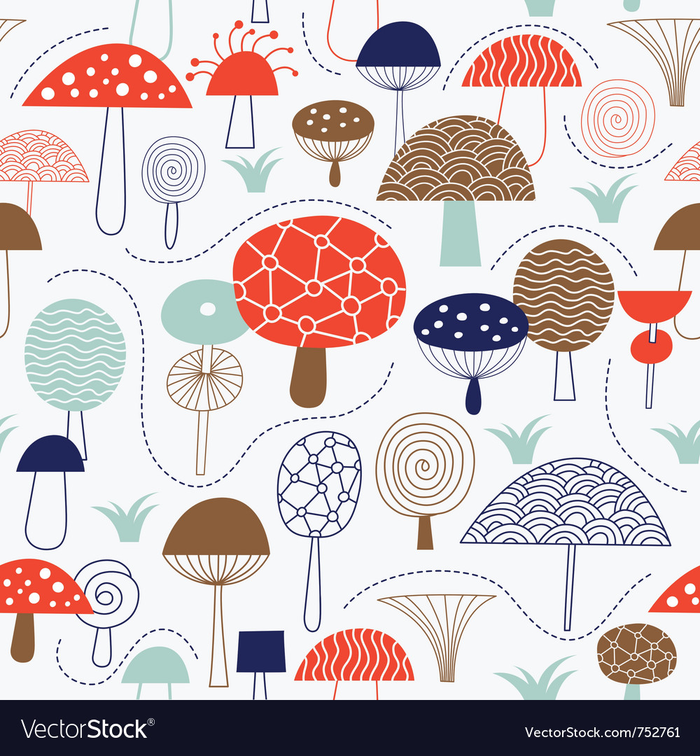 Seamless pattern with mushrooms fabric design vector | Price: 1 Credit (USD $1)