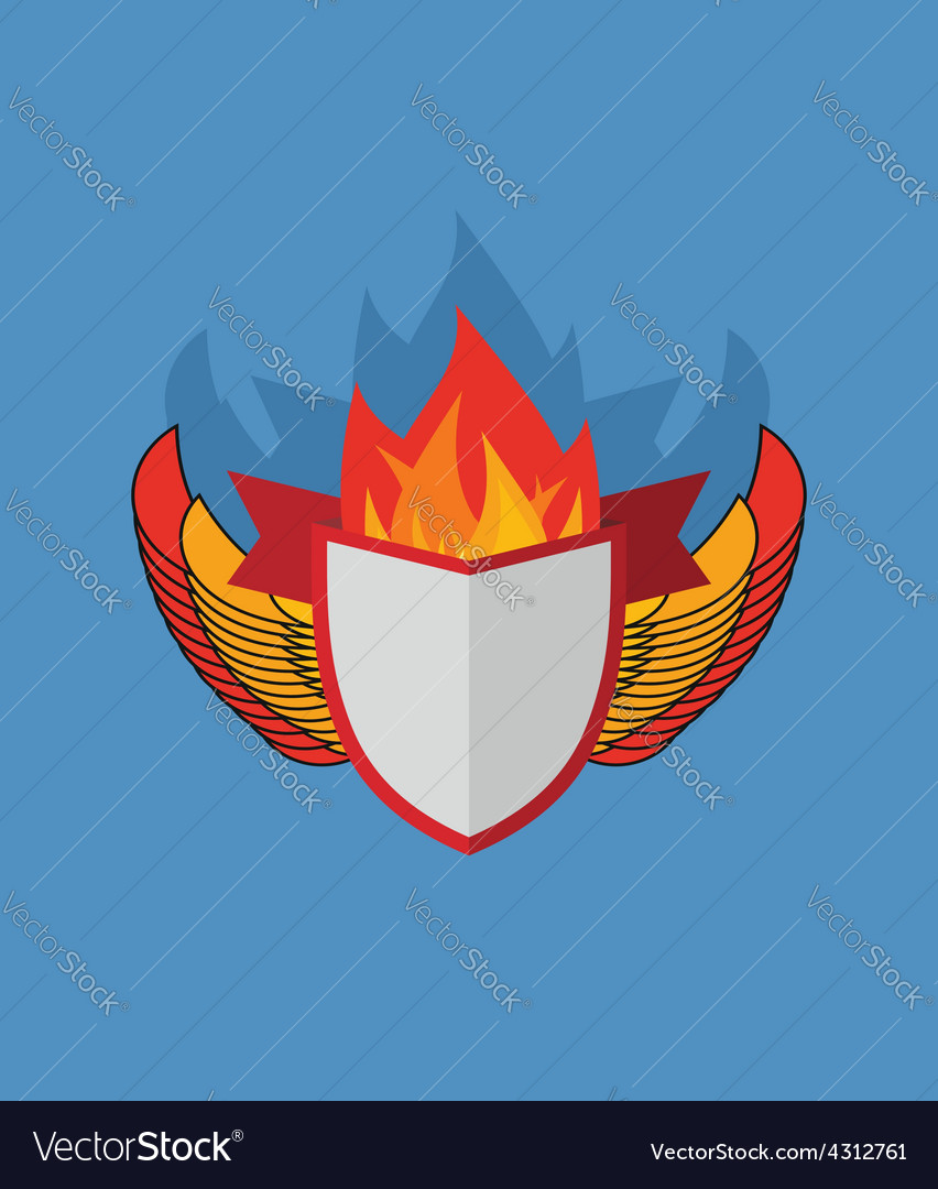 Shield with wings flame and ribbon heraldry vector | Price: 1 Credit (USD $1)