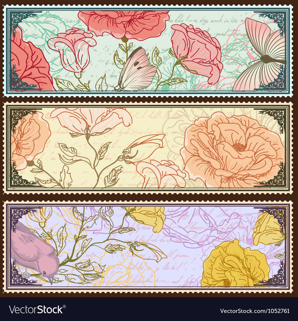 Vintage banners with handdrawn roses vector | Price: 1 Credit (USD $1)