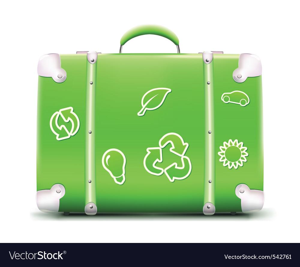 Vintage green suitcase vector | Price: 1 Credit (USD $1)