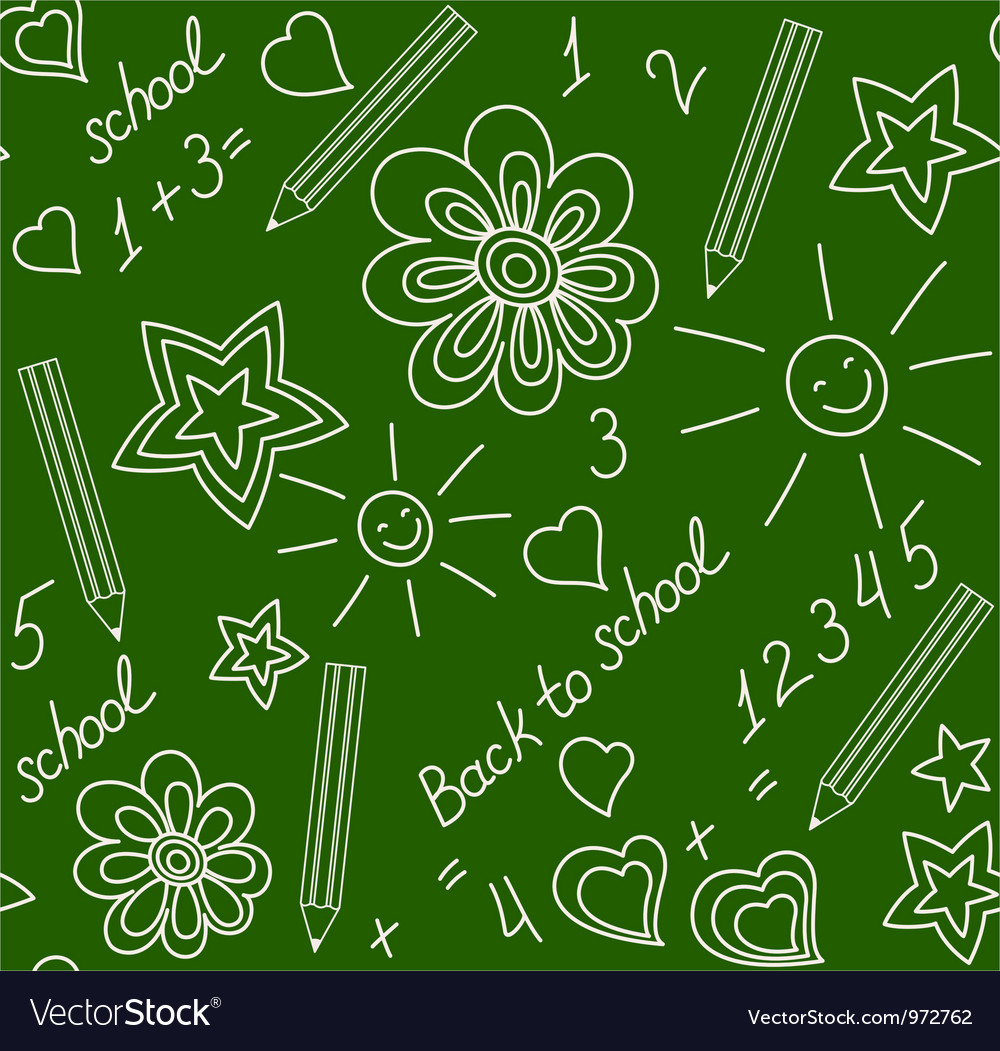 Back to school chalk-drawn seamless pattern vector | Price: 1 Credit (USD $1)