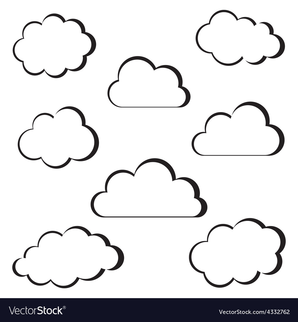Black clouds outline vector | Price: 1 Credit (USD $1)