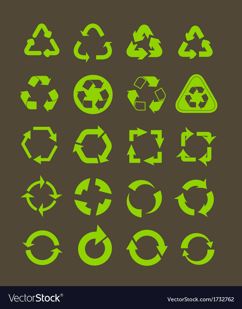 Collection of different recycle icons vector   Price: 1 Credit (USD $1)