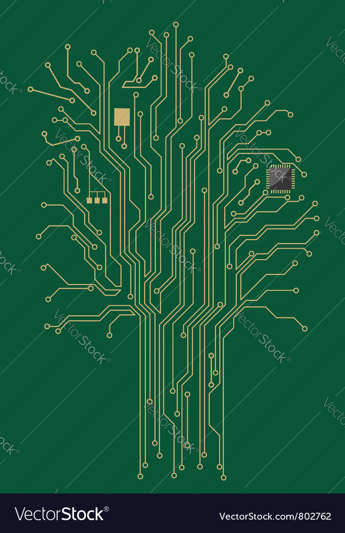 Computer motherboard tree vector | Price: 1 Credit (USD $1)