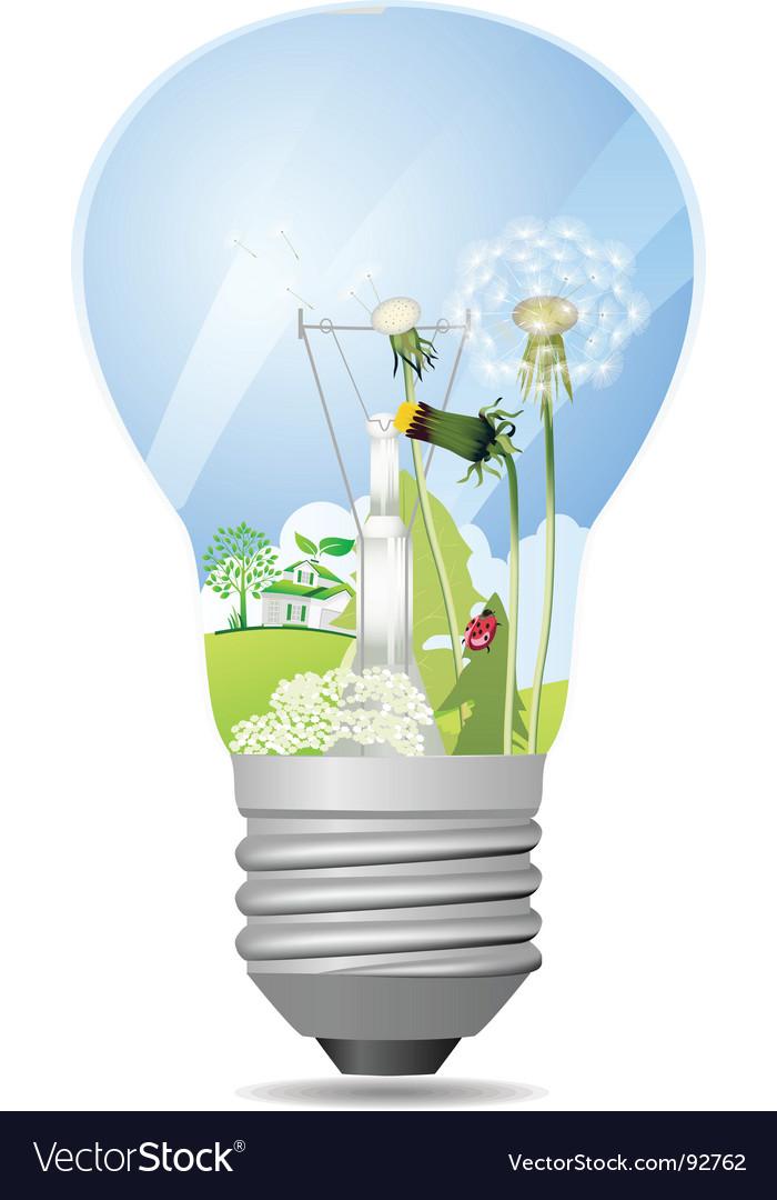 Green light bulb vector | Price: 3 Credit (USD $3)