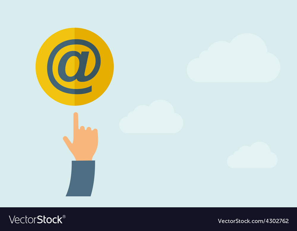 Hand pointing to email icon vector | Price: 1 Credit (USD $1)