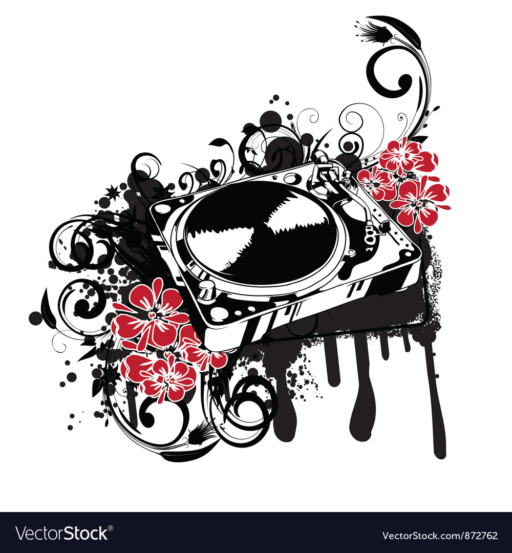 Turntable with grunge vector | Price: 1 Credit (USD $1)