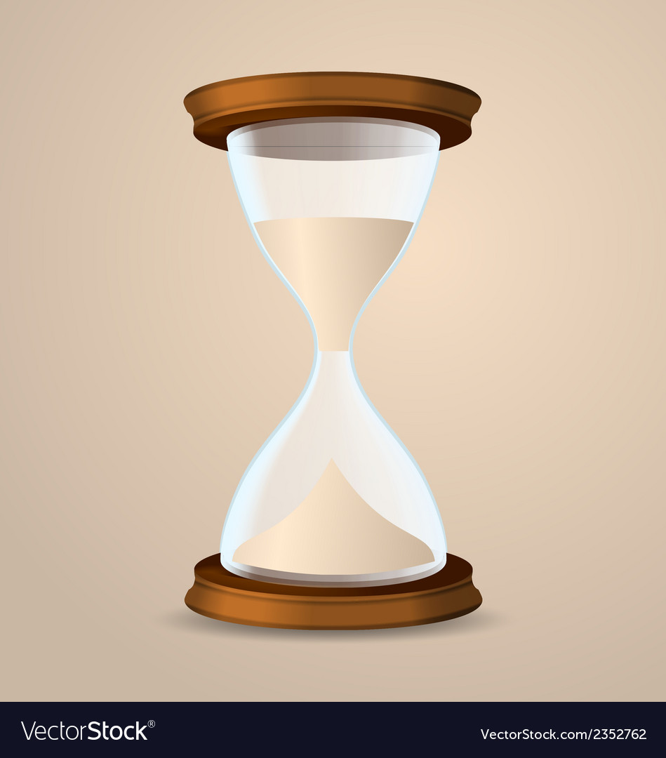 Vintage hourglass isolated on beige background vector | Price: 1 Credit (USD $1)