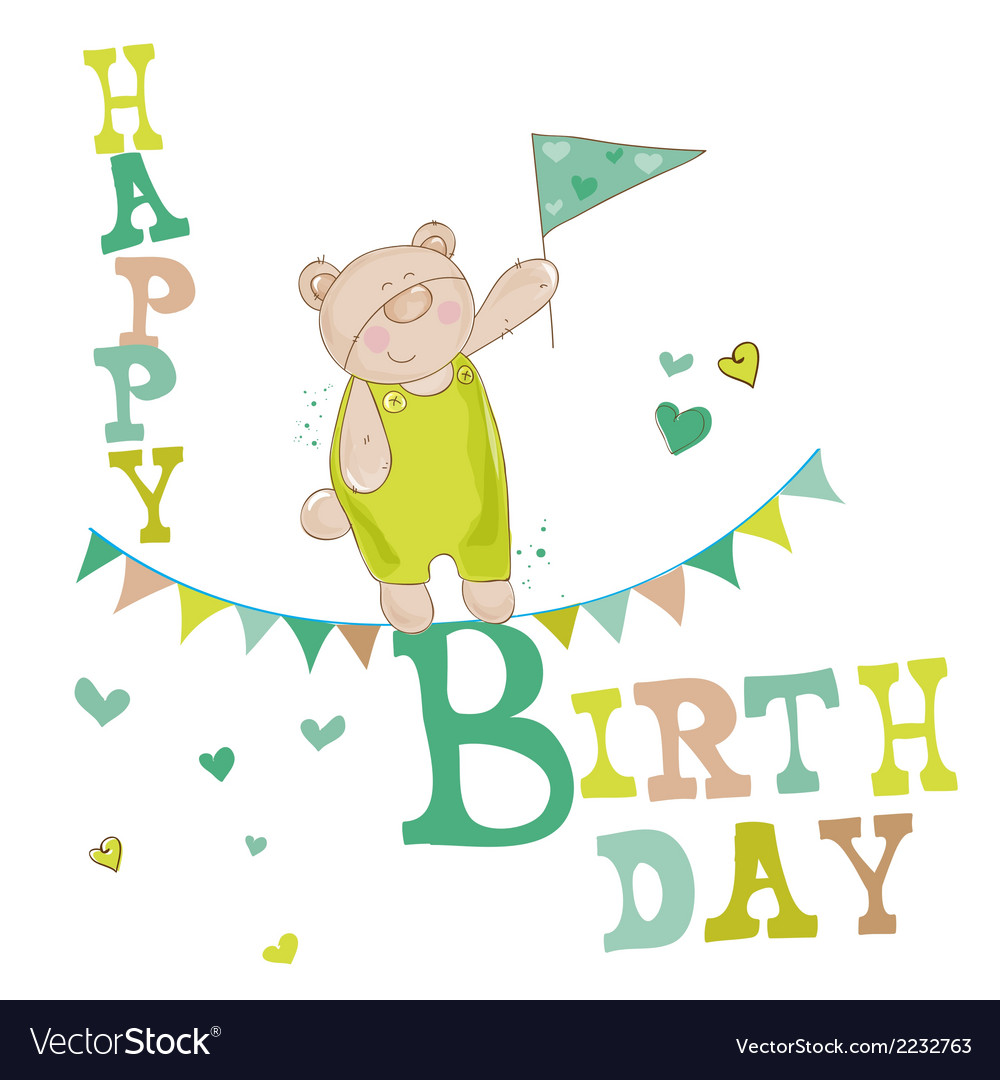 Baby bear birthday card vector | Price: 1 Credit (USD $1)
