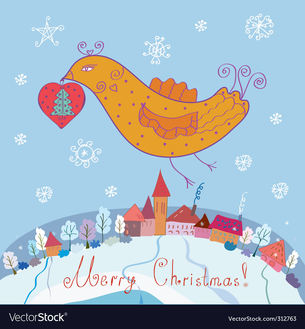 Bird and christmas vector | Price: 1 Credit (USD $1)