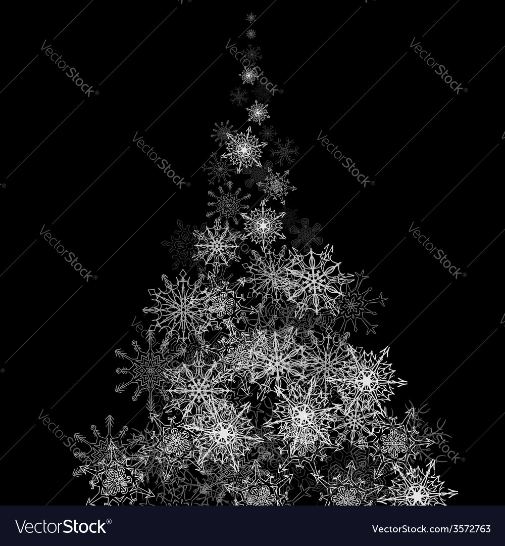 Christmas tree made of snowflakes blizzard in the vector   Price: 1 Credit (USD $1)