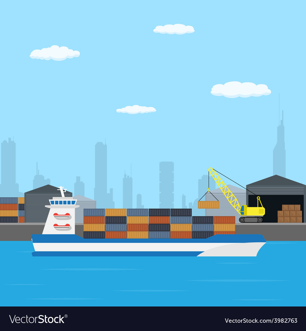 Farry boat loading vector | Price: 1 Credit (USD $1)