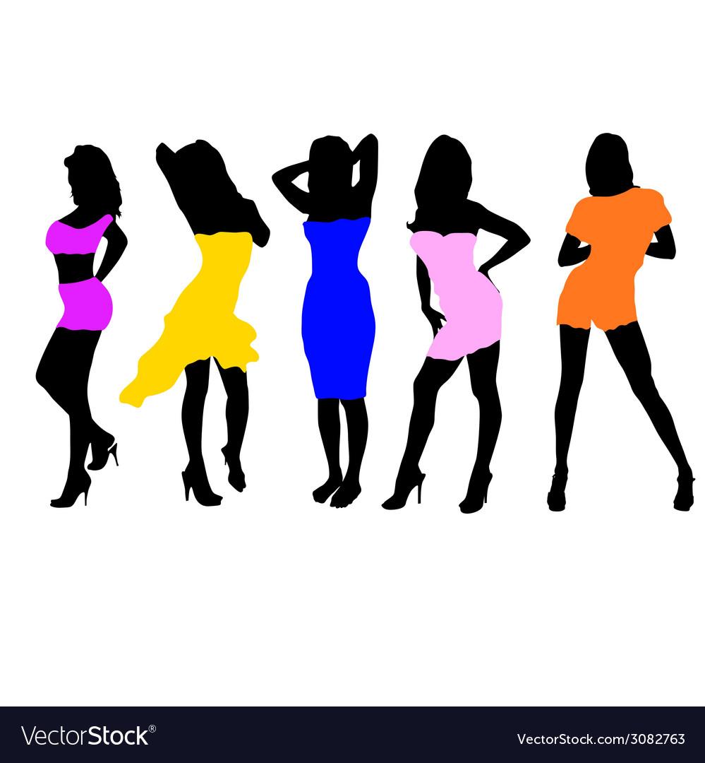 Girls in dresses vector | Price: 1 Credit (USD $1)