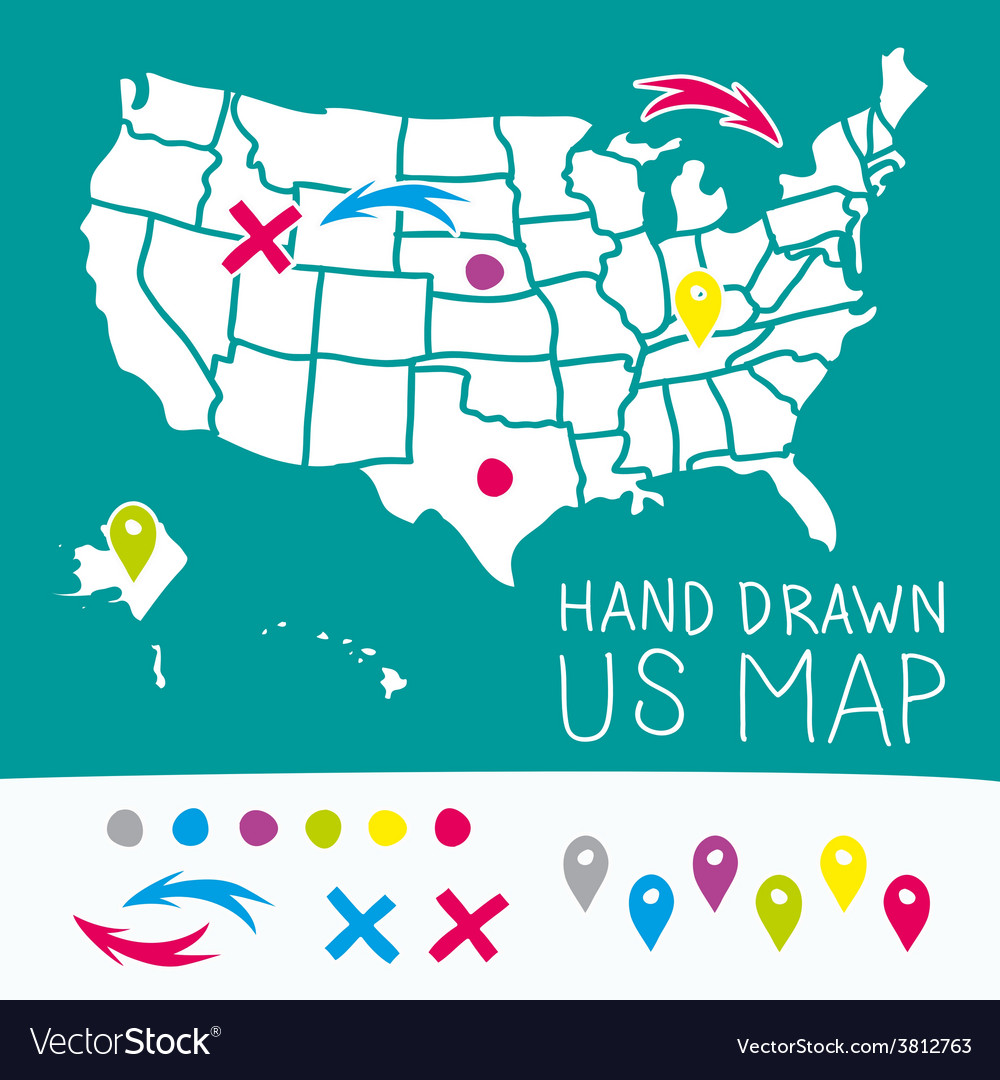 Hand drawn us map whith map pins vector | Price: 1 Credit (USD $1)