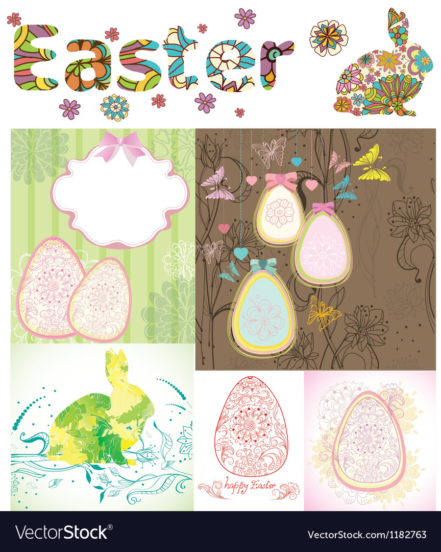 Happy easter card set vector | Price: 1 Credit (USD $1)
