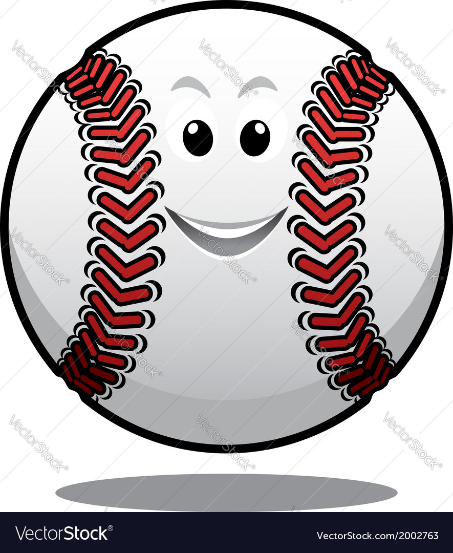 Happy white cartoon baseball ball vector | Price: 1 Credit (USD $1)