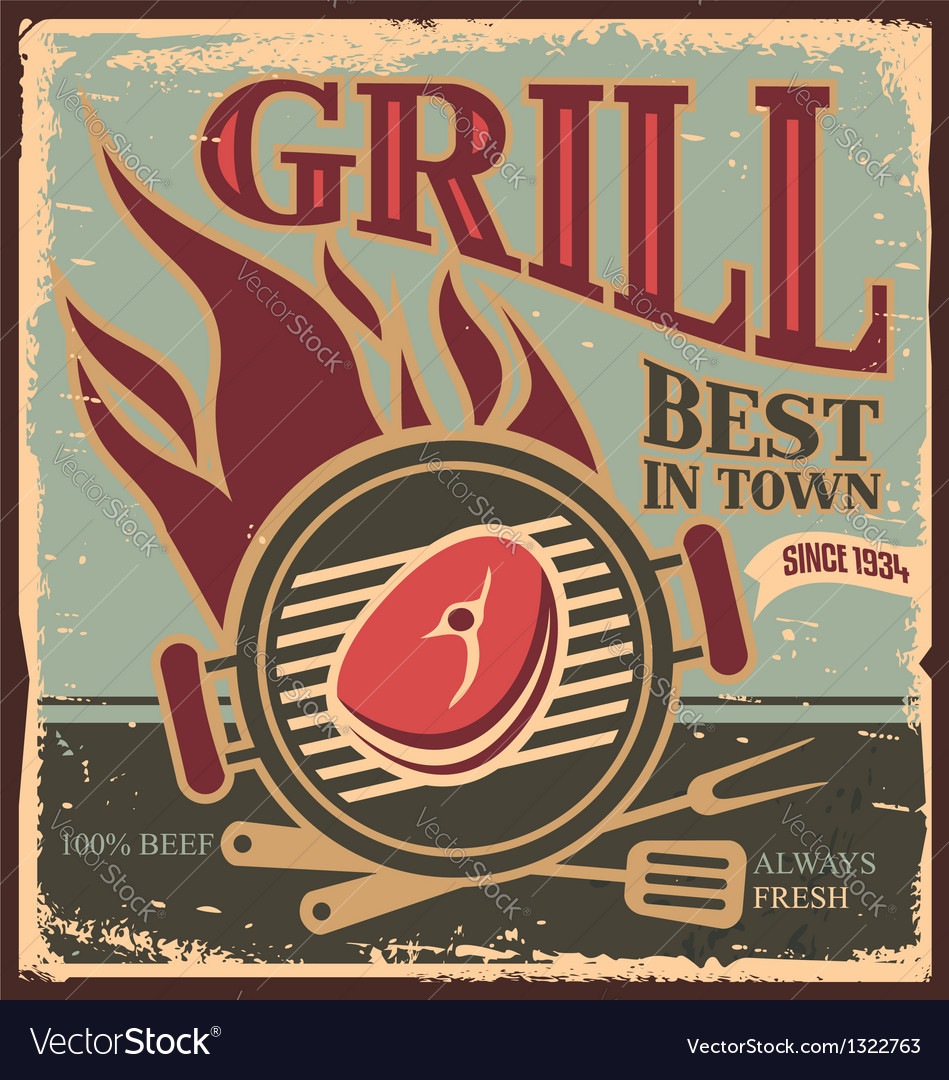 Retro bbq poster template with fresh beef steak vector | Price: 1 Credit (USD $1)