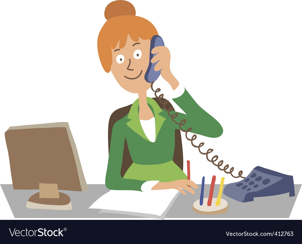 Secretary in the office vector | Price: 1 Credit (USD $1)