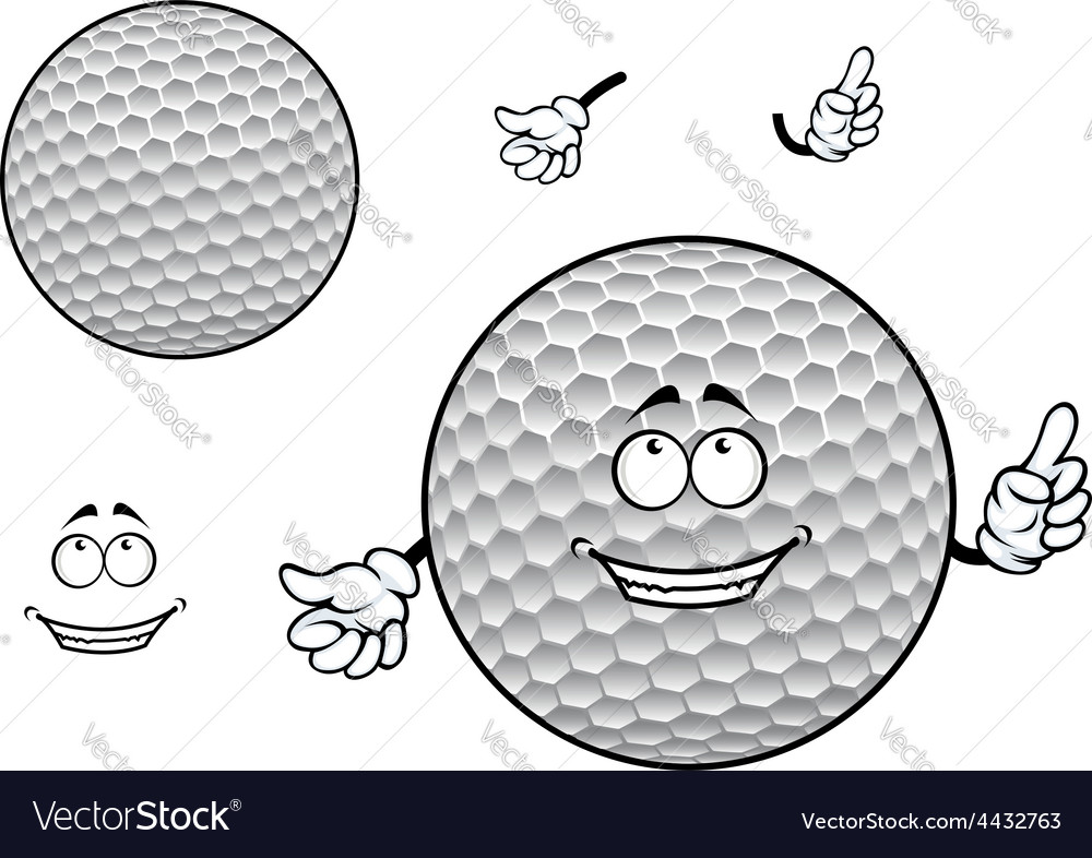 Smiling cartoon dimpled white golf ball character vector | Price: 1 Credit (USD $1)