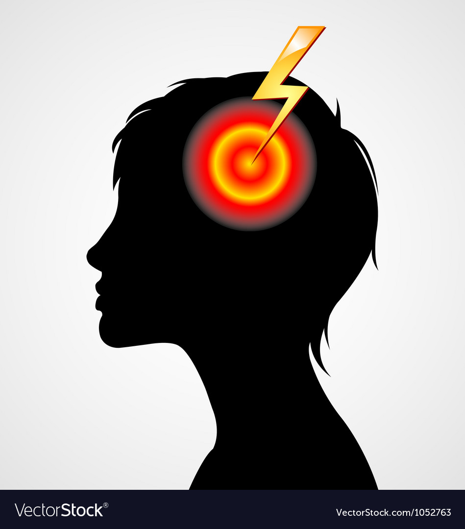 Terrible headache silhouette vector | Price: 1 Credit (USD $1)