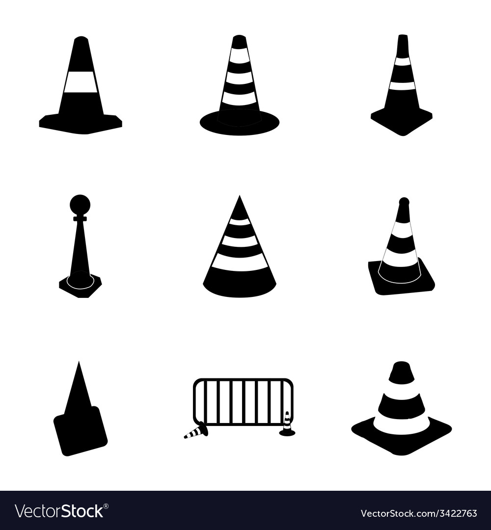 Traffic cone icons set vector | Price: 1 Credit (USD $1)