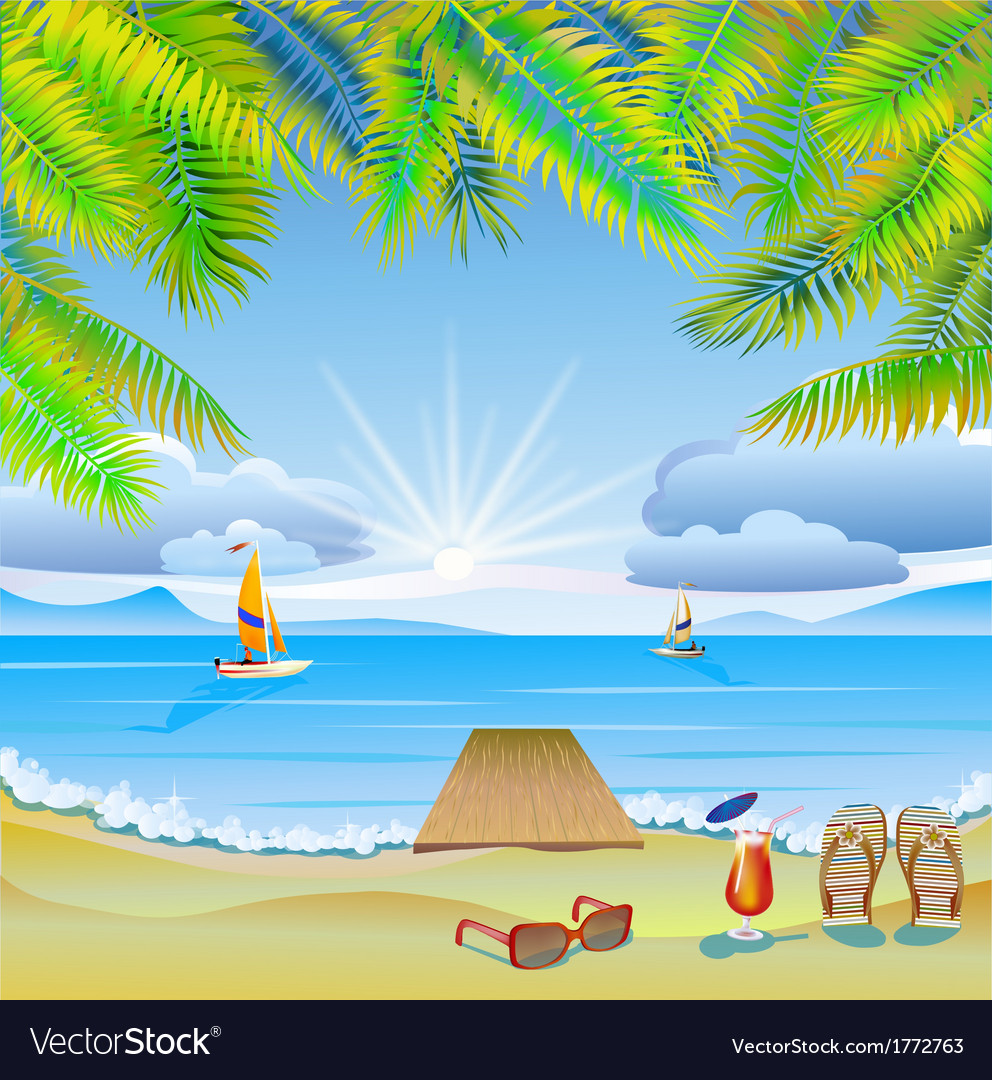 Travel the sea yachts palm trees furlough vector | Price: 3 Credit (USD $3)
