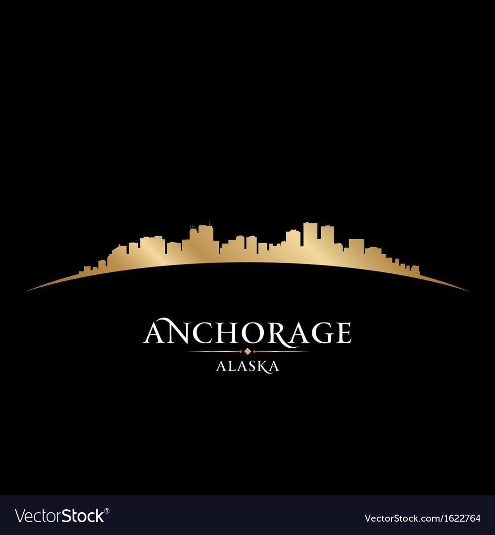 Anchorage alaska city skyline silhouette vector | Price: 1 Credit (USD $1)