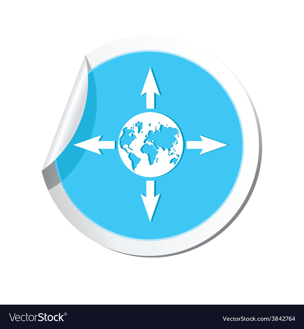 Arrows and globe blue label vector   Price: 1 Credit (USD $1)