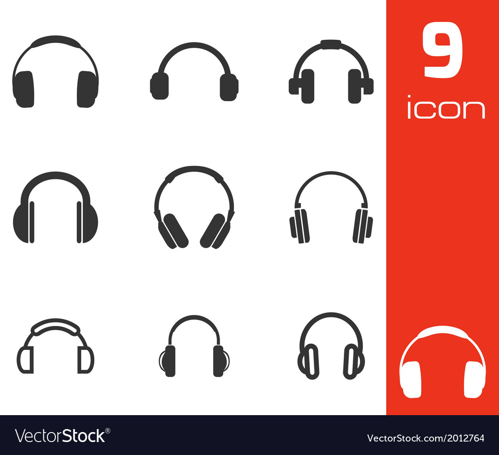 Black headphone icons set vector | Price: 1 Credit (USD $1)
