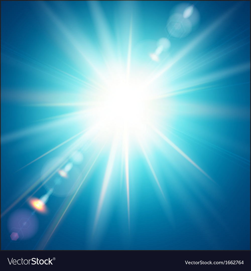 The bright sun shines on a blue sky background vector | Price: 1 Credit (USD $1)