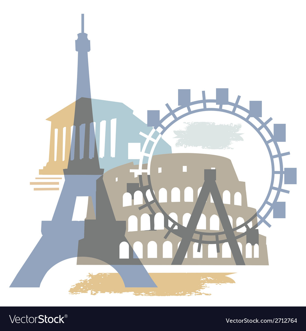 Collage europe monuments vector | Price: 1 Credit (USD $1)