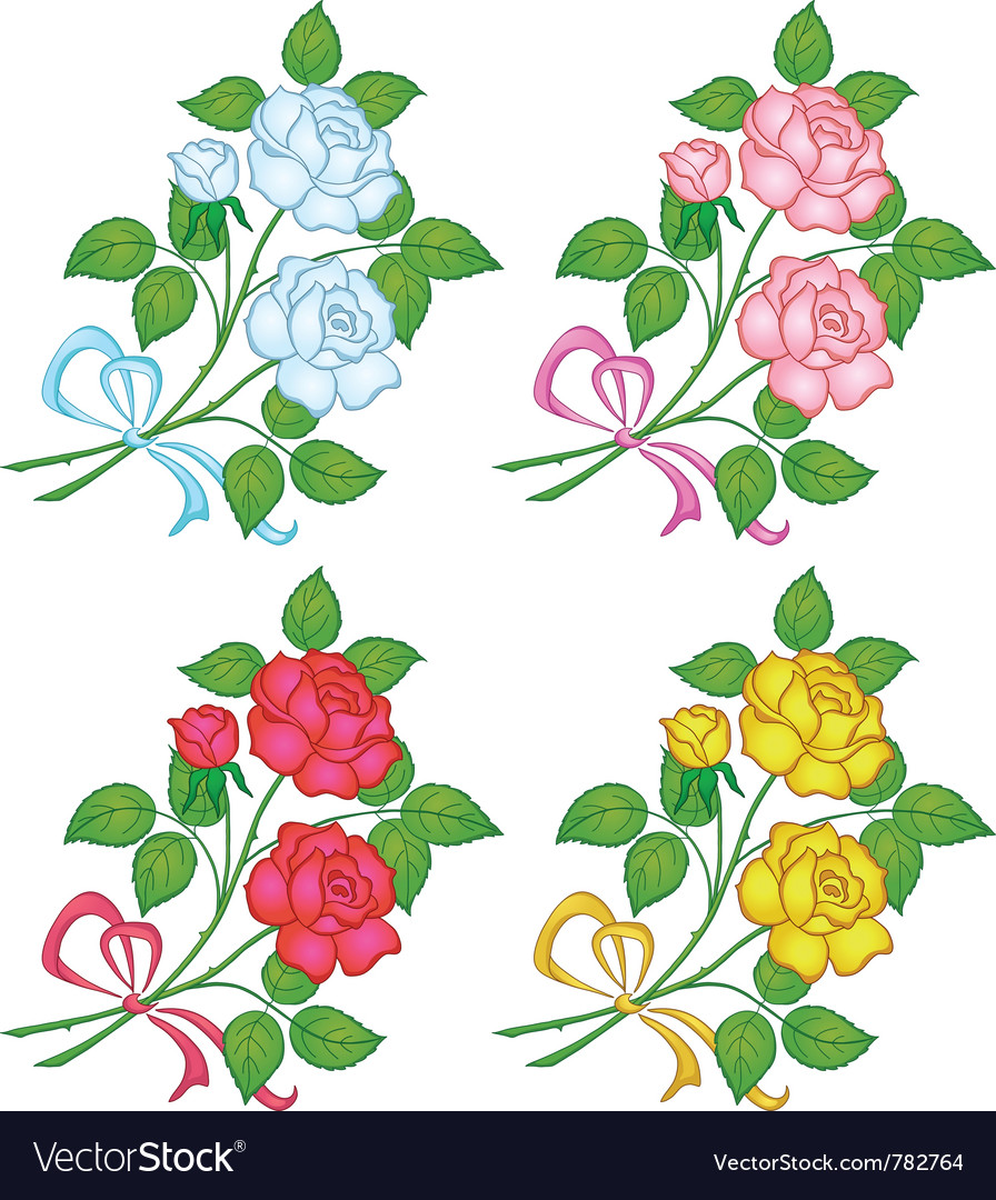 Flowers rose set vector | Price: 1 Credit (USD $1)