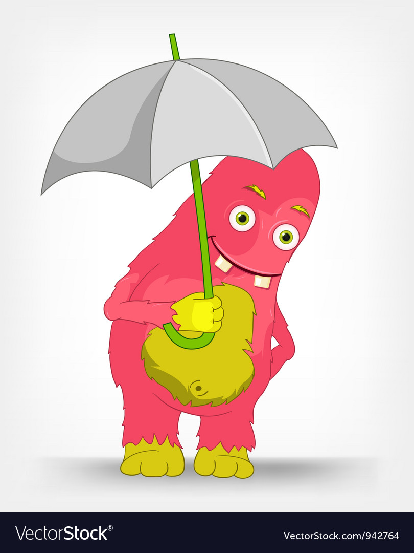 Funny monster under umbrella vector | Price: 3 Credit (USD $3)