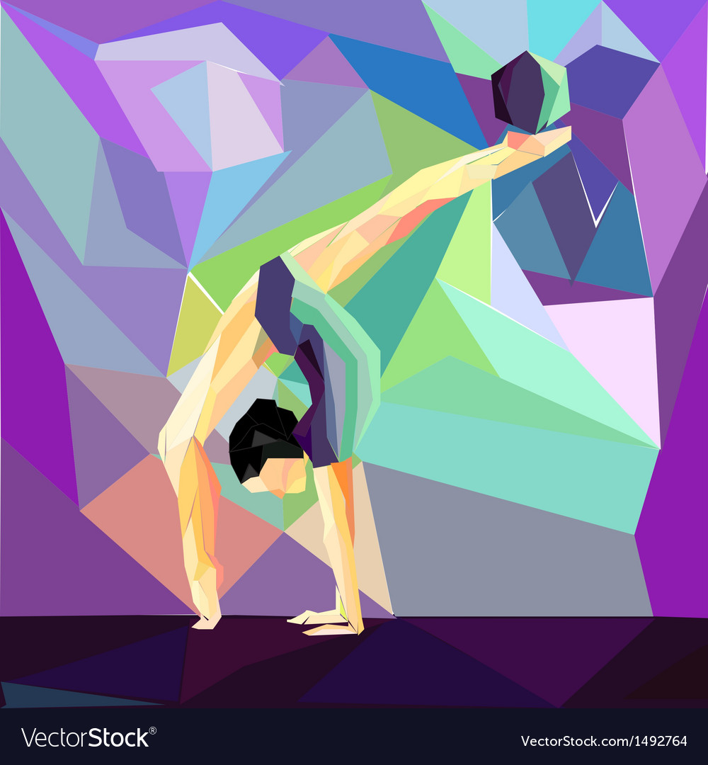 Girl gymnast does exercises with the ball vector | Price: 1 Credit (USD $1)
