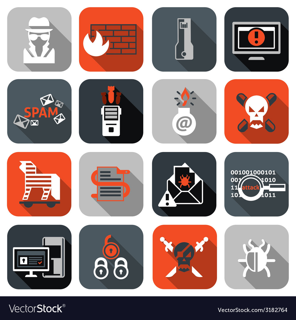Hacker icons set flat vector | Price: 1 Credit (USD $1)