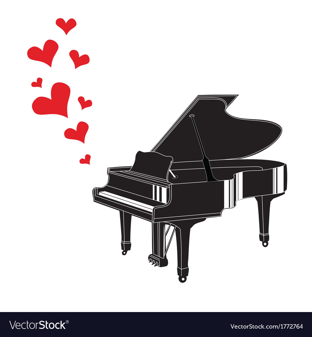 Heart love music piano playing a song vector | Price: 1 Credit (USD $1)