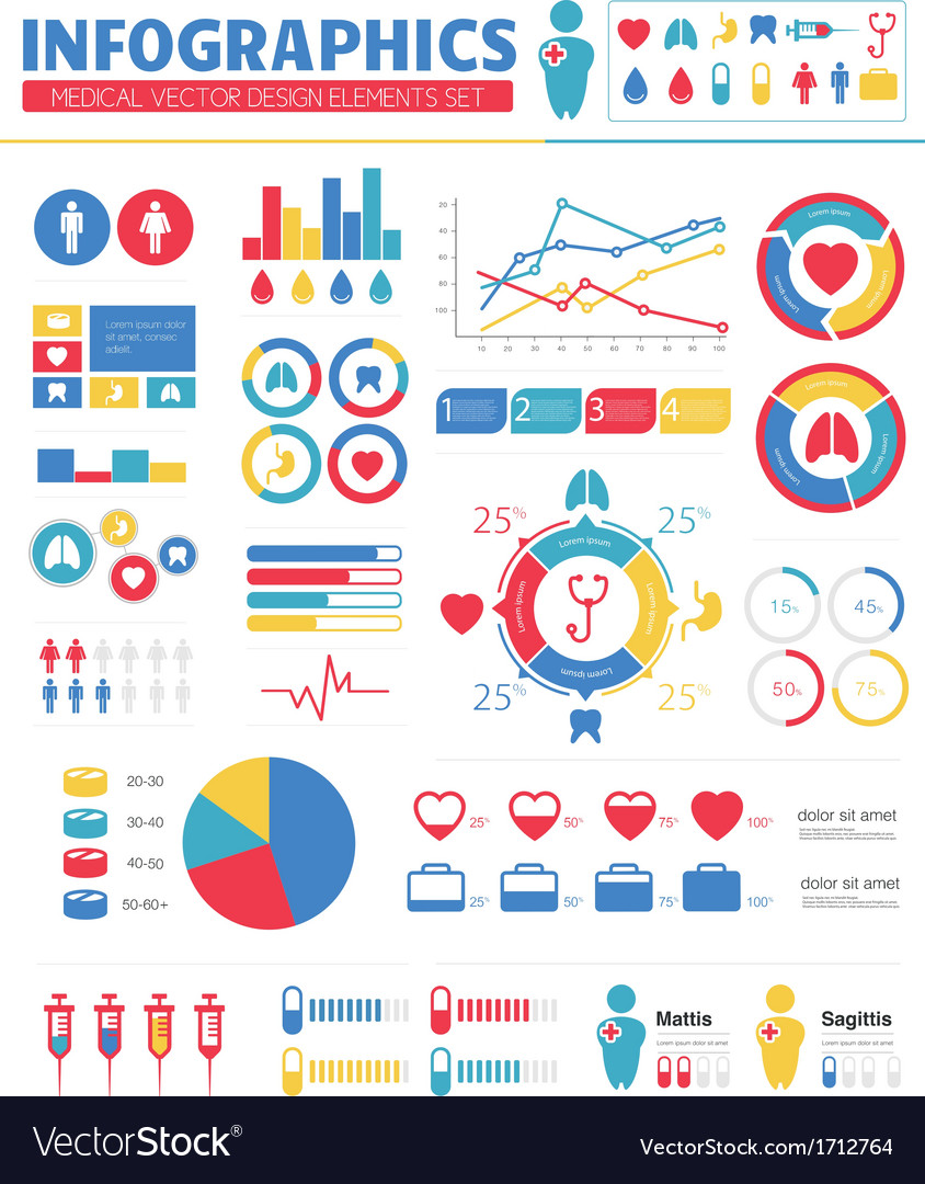 Infographic medical design elements set vector | Price: 1 Credit (USD $1)