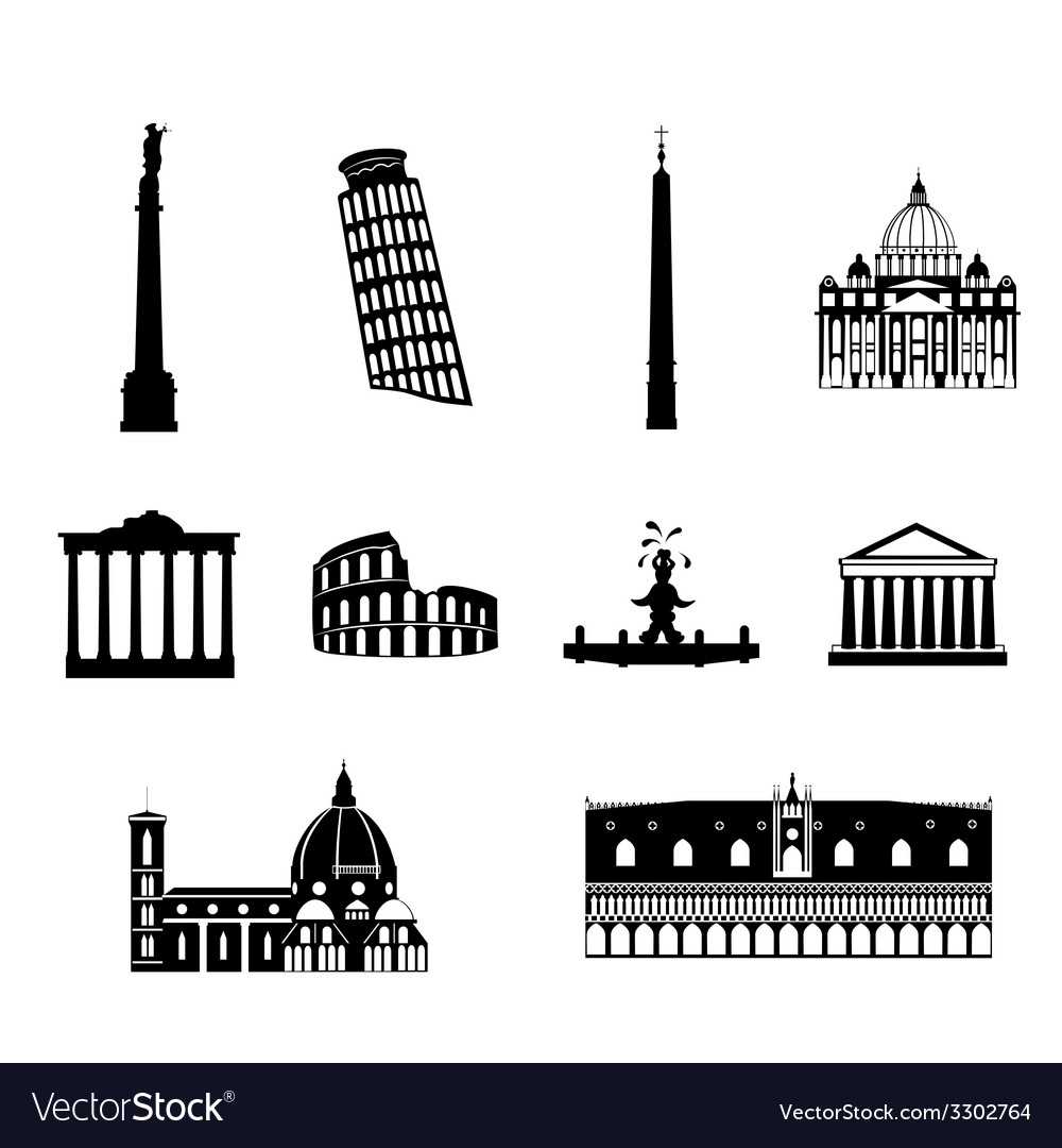 Landmarks of italy set vector | Price: 1 Credit (USD $1)