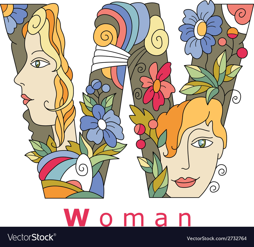Letter w woman vector | Price: 1 Credit (USD $1)