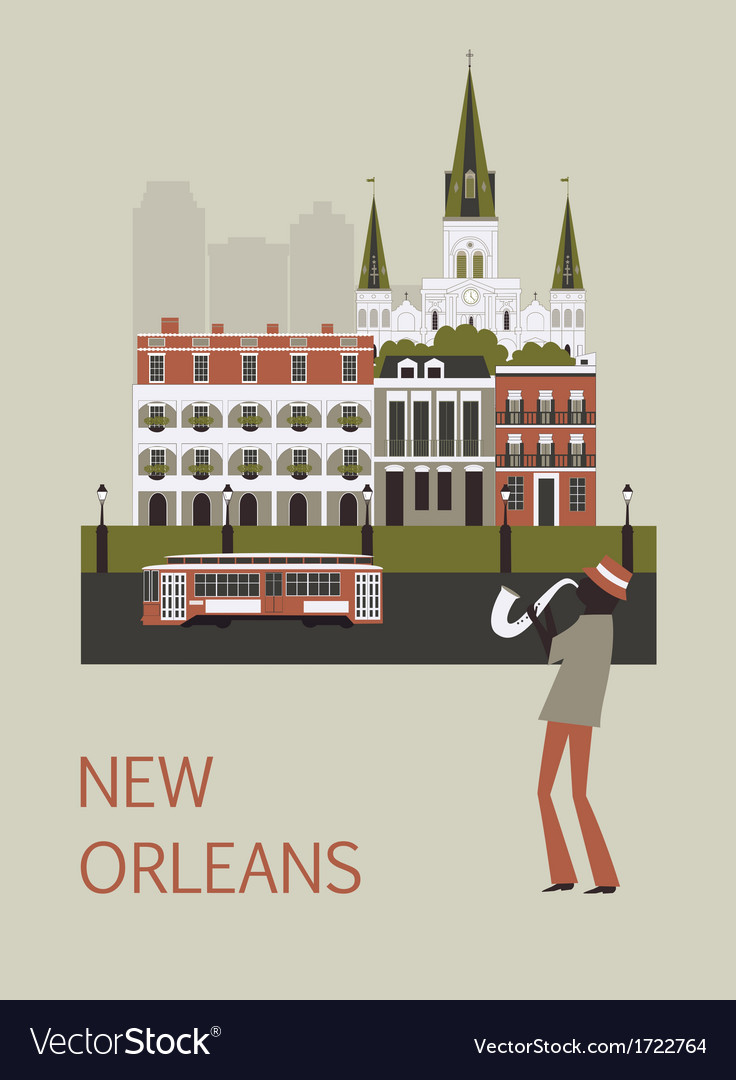 Man in new orleans vector | Price: 1 Credit (USD $1)
