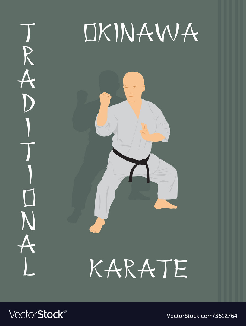 The man is engaged in karate on a green background vector | Price: 1 Credit (USD $1)