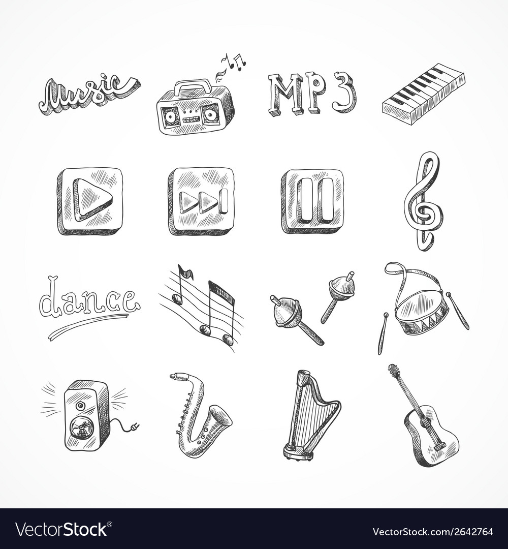 Set of music icons vector | Price: 1 Credit (USD $1)