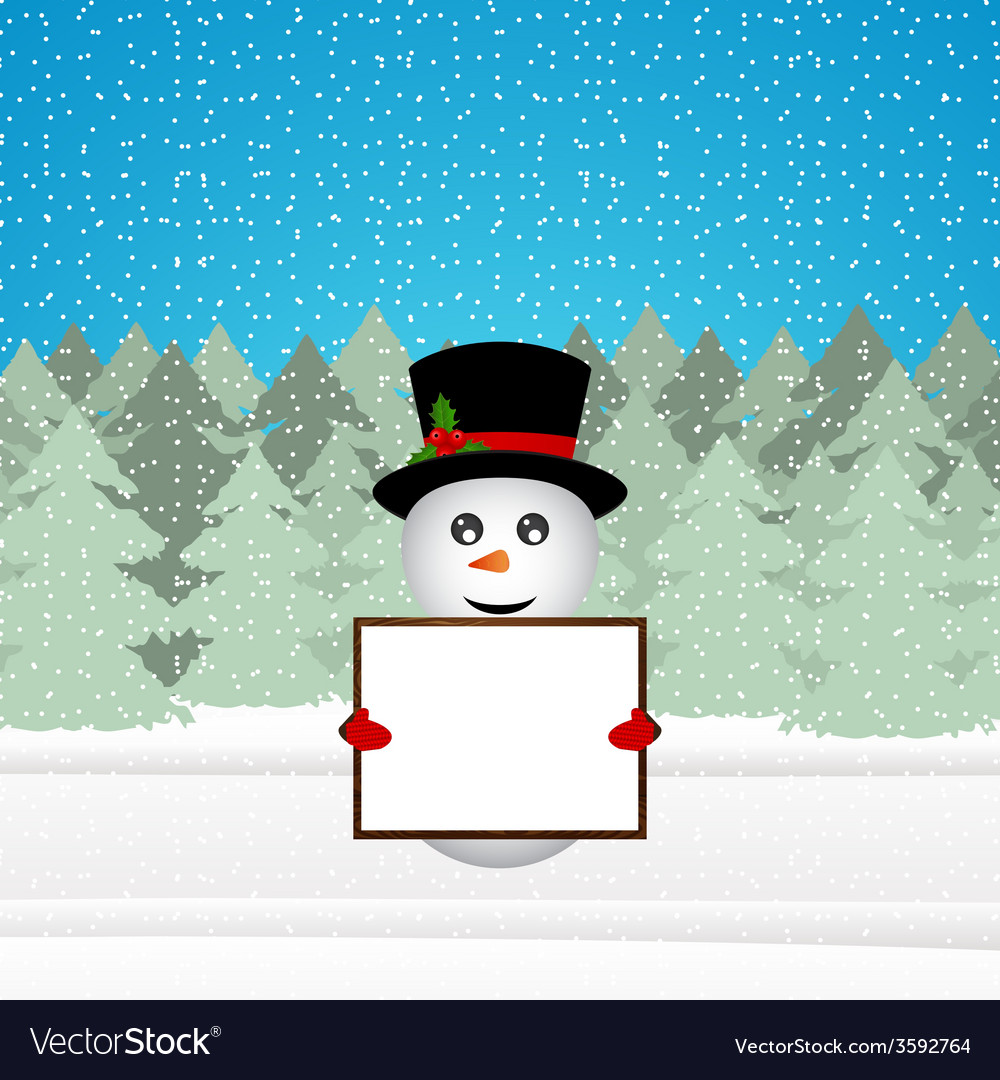 Snowman holding a banner in the forest vector   Price: 1 Credit (USD $1)
