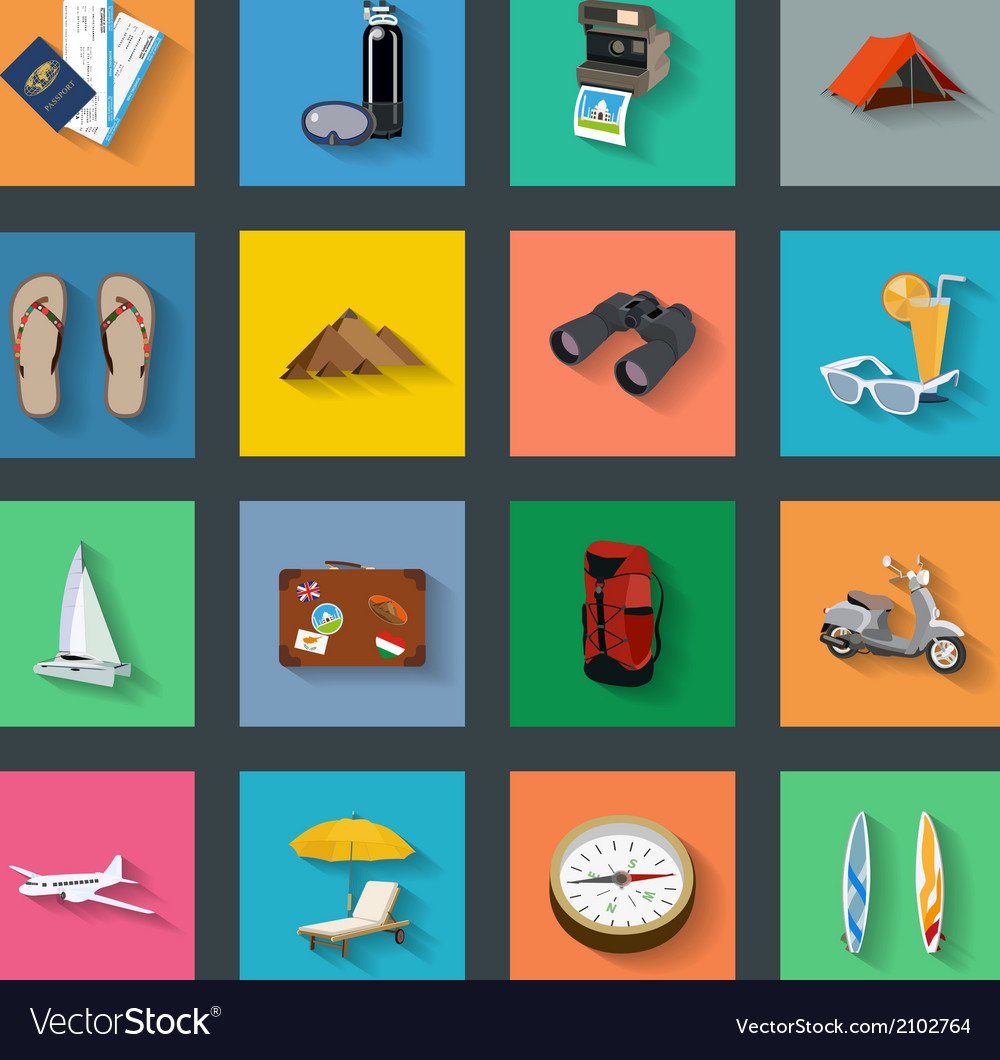 Tourism flat icons set vector | Price: 1 Credit (USD $1)